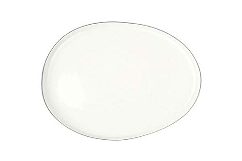 Canvas Home Abbesses Porcelain Serving Platter, Hand-Glazed Porcelain Serving Tray with Hand Painted Rim (Small, Solid White with Grey Rim)