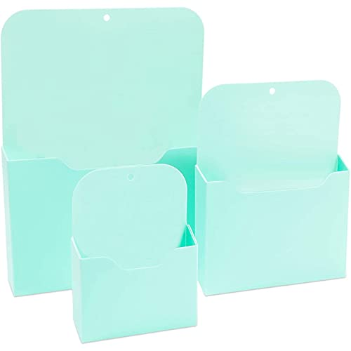 Magnetic File Holders Set, 3 Sizes (Teal, 3 Pack)