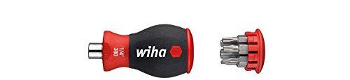 Wiha Magazin-Bithalter Stubby 3801-03 / Mini Schraubendreher mit 6 Bits im Griff / Schraubenzieher magnetisch mit Torx Bits / 1/4