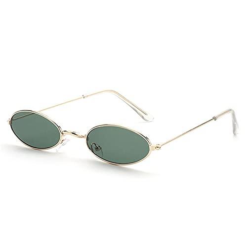 SASCD Las Mujeres okulary Gafas de Sol del Marco pequeño de la Manera Gafas de Sol de Las Gafas de Sol del Ojo de Gato UV400 Sombras de Sun Glasses Gafas Calle (Color : Gold Green)