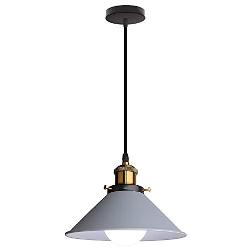 Lámpara Colgante de Techo LED Moderna Lámpara Techo Metal E27 para Salon Comedor Habitacion (Gris)