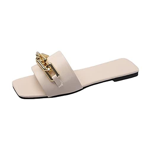 Sandalo Piatto da Donna Sandali Casual Quadrati Open Toe Slide Band Strap Slip On Mules Pantofole Estive Scivoli Scarpe da Viaggio da Spiaggia Traspiranti (Color : White, Size : 37EU)