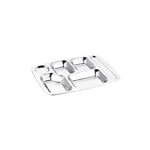 Lazxcnvb Juego de platos cp, placa de acero inoxidable para comida rápida engrosada, adecuada para cantina Cnstudent, (23,5 x 2,5 cm) y (30,7 x 23,5 x 2 cm) (tamaño mediano)