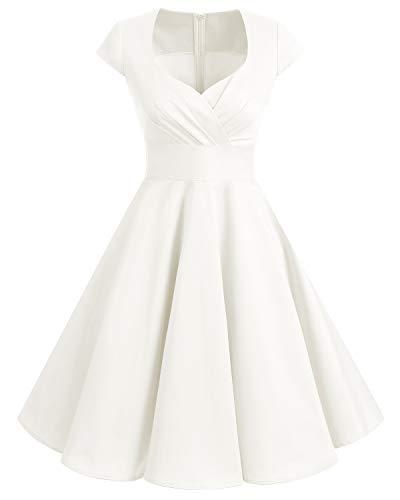 Bbonlinedress Vestido Corto Mujer Retro Años 50 Vintage Escote En Pico Off White 2XL