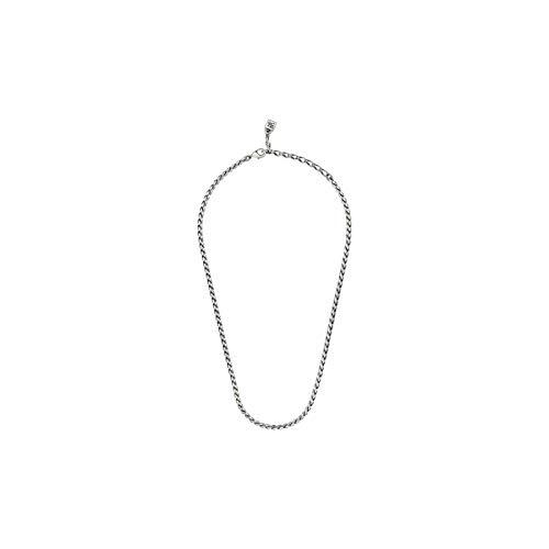 Herren-Halskette aus versilbertem Metall mit origineller Form einer geflochtenen Kette und Verschluss mit unserem kleinen Vorhängeschloss.