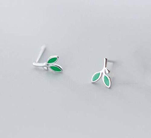 WOZUIMEI Pendientes de Botón de Hoja Verde de Estilo Artístico de Plata S925 Pendientes Frescos Y Dulcesplata