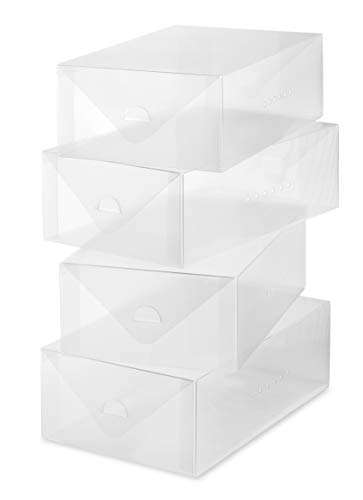 Whitmor Clear Vue Women s Shoe Box, Set of 4, White, 4 Count
