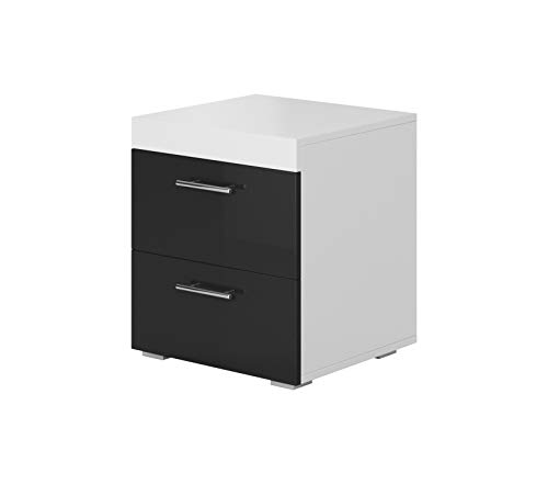 muebles bonitos Pack de 2 mesitas de Noche Ciro Blanco y Negro