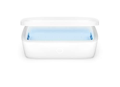 Einova Mundus UV-C-Desinfektionsgerät 99,99% effektiv, Zertifiziert von Intertek & EPA – Ablage und Qi-Schnellladestation für iPhone 11/11 Pro/XS/XR/Airpods Pro/Samsung Galaxy S20 / S10