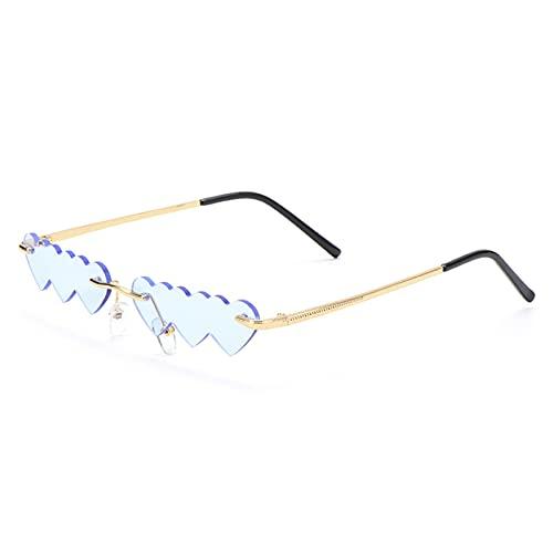 WEARRR Moda de Lujo Forma de corazón Gafas de Sol Mujeres Retro Rectángulo Pequeño Rimless Punk Sun Gafas Vintage Shades Senderismo Eyewear (Color : Blue)