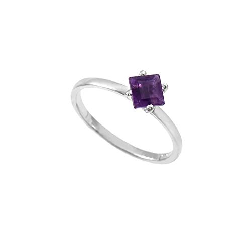Anillo de plata de ley 925 De piedras preciosas Cuadrado Facetadas de amatista natural de calidad AAA para mujer Anillo de amatista, anillo de compromiso, anillo astrológico Talla de anillo 18.5 (D3)