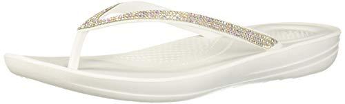 FitFlop Women's IQUSHION Sparkle Flip-Flop, Urban White, US08 M US