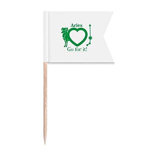 Motivation Sternbild Love Widder Zahnstocher Flaggen Markierung für Party Kuchen Lebensmittel Käseplatte