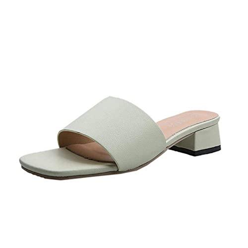 MISS KANG Zapatillas de verano suaves para mujer, cabeza de colmillo, arena gruesa, una simple zapatilla UK6, sandalias planas y suaves para interior Qingchunw (color: verde, tamaño: UK3.5)