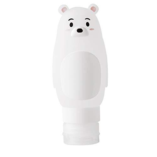 Bouteilles de gel de douche Conteneurs Bouteilles de toilette rechargeables Shampooing Bouteille de conteneur liquide pour les voyages en plein air (90 ml, ours polaire)
