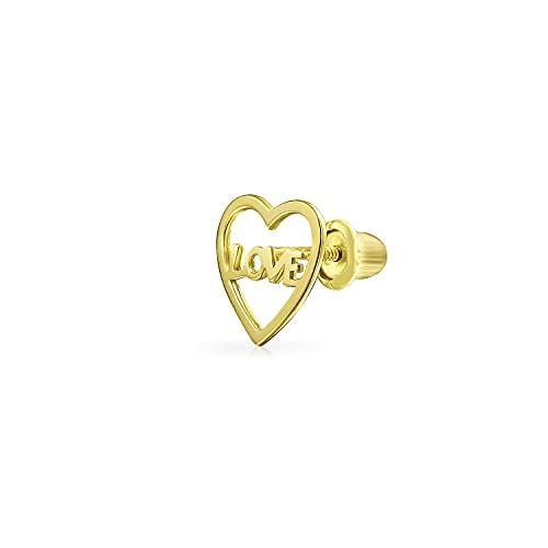Ani's Pendiente pequeño de cartílago con lóbulo de la oreja de amor con palabra de corazón para mujeres y hombres en plata 925 chapada en oro amarillo de 14 quilates
