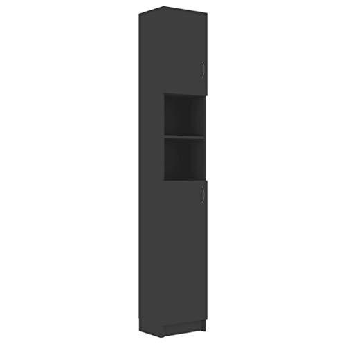 Colonna bagno – Moderno mobile bagno – Include 4 ripiani e 2 ripiani aperti, 32 x 25,5 x 190 cm, colore: grigio