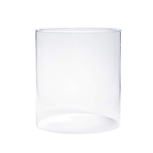 Varia Living Glascylinder utan bas för lykta olika storlekar tillgängliga ersättningsglas för utomhus- och inomhusbruk stort öppet glasrör transparent (diameter 14,5 cm/höjd 16 cm)