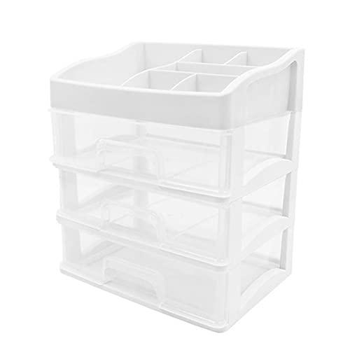 SAWLOT Caja de almacenamiento de escritorio de 4 capas de 4 capas Caja de acabado cosmético para oficina de papelería Caja de almacenamiento Cajón