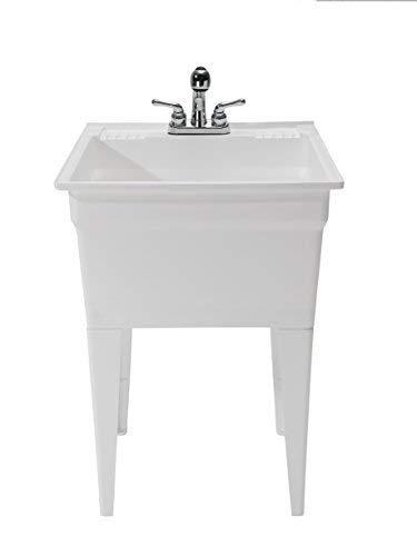 CASHEL Heavy Duty Free-Standing Utility Sink - Fully Loaded Sink Kit, 1960-32-01, White