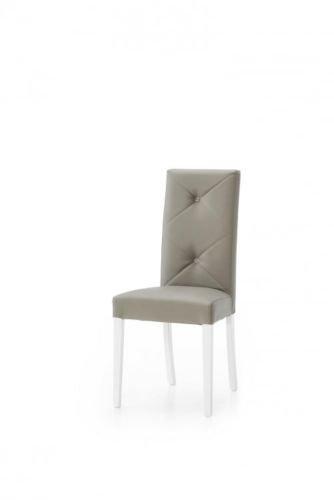 Legno&Design Lot de 2 chaises modernes en simili cuir rembourré, couleur taupe, dossier avec boutons