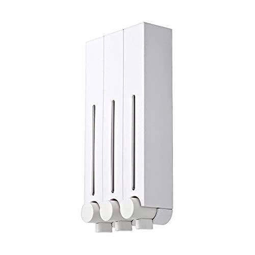 XIXIDIAN Dispensador de jabón, dispensador y organizador de la bomba de ducha de baño de la pared de 3 cámaras, tiene un champú, jabón, acondicionador, gel de ducha, loción, para la oficina de baño de