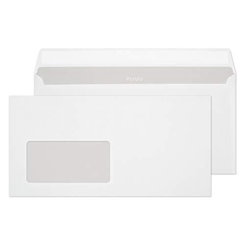 Blake Purely Everyday DL - 110 x 220 mm 90 g / m² Umschläge Klebeband linkes Fenster (22774) - Schachtel mit 500 Stück