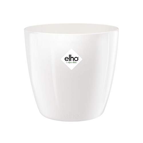 Elho Brussels Diamond Rond Pot De Fleurs, Blanc, 18 CM