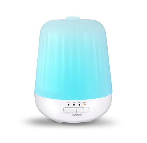 MIABOO Diffuseur d'Huiles Essentielles, 130ml Humidificateur Ultrasonique Diffuseur Aromathérapie avec 7 Lumière LED à Couleurs Variables und Anhydre Arrêt Automatique pour la Maison, Yoga, Bureau