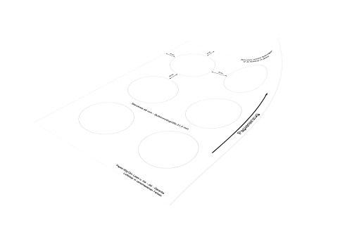 Buttonpapier (Kreisdurchmesser: 68 mm) für 55 mm IBP-Schollenberger Buttonrohlinge, 25 Blatt (150 Papierkreise), weiß, 100 g/m2