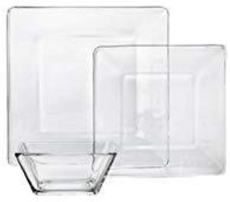 NEW 12 Piece Square Glass Dinnerware Set