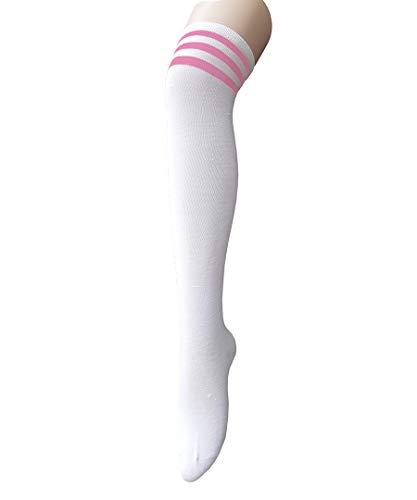 Century Star Women Athletic Over Knee Socks Striped Thigh High Stockings Cosplay Warmer Legging Socks White And Pink
