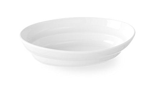 HENDI Ofenform, Flach, Hohe Schlag- und Verschleißfestigkeit, Servierschüsseln, Dessertschale, Snackschale, Schüssel, 203x133x50mm, Weiß Porzellan