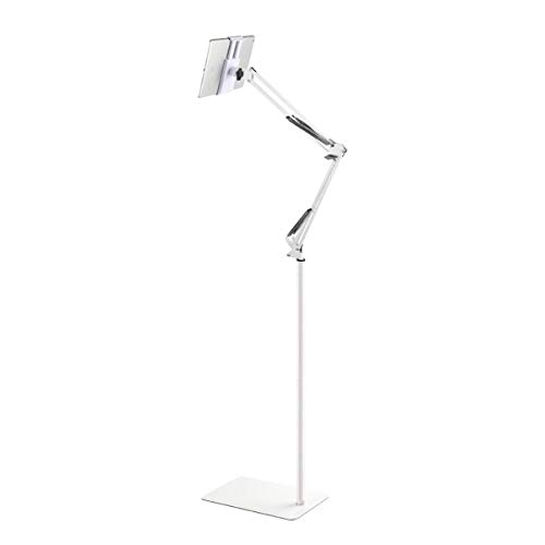 Tablet Adjustable Floor Stand, Universal 360-degree Rotatable Metal Tablet Holder Compatible with Samsung Galaxy Tab pad Phone, for Bedroom Kitchen Living Room Outdoor (White)