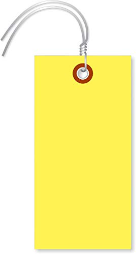 """SmartSign """"Yellow Tyvek Shipping Tags with Wire"""", Size #5, Write on These Tags with a Pen or Marker 4 3/4"""