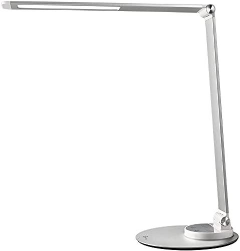 Lampara Escritorio LED TaoTronics Flexo LED con 6 Niveles de Brillo y 3 Niveles de Color, Ultrafino y Agradable a la Vista, Función de Memoria, Puerto de Carga USB, Gris Pateado de Bajo Consumo