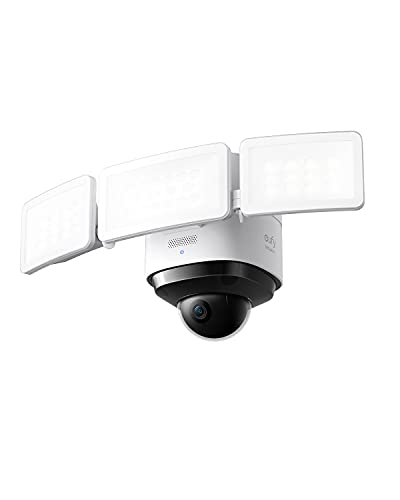 eufy Security Floodlight Cam 2 Pro, 360-Degree Pan and Tilt Coverage, 2K Full HD, Smart Lighting, Weatherproof, On-Device AI Subject Lock and Tracking, No Monthly Fee