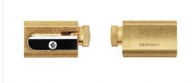 Legendary DUX Adjustable Pencil Sharpener - brass in a genuine leather...