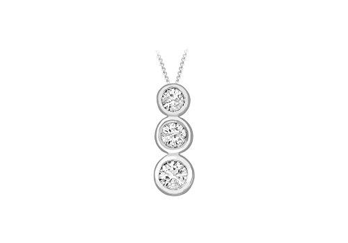 Collana in oro bianco 18 kt con diamanti Trilogy 1 Gold-Catenina barbazzale con ciondolo a forma di cuore, lunghezza 46 cm/18