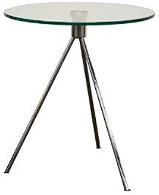 Baxton Studio Triplet Round Glass Top End Table with Tripod Base