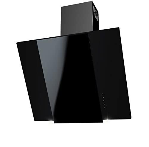 Vesuvio Schwarz + Glas + LED, Kohlefilter GRATIS! 60 cm Dunstabzugshaube, Kopffrei, Umluft/Abluft