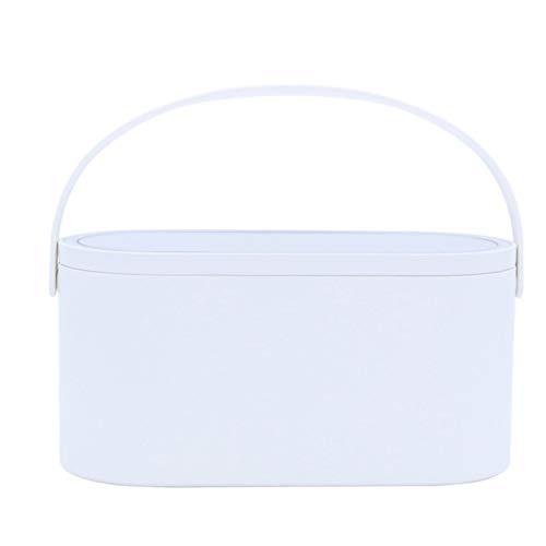 Estuche De Maquillaje De Viaje, Organizador De Mesa De Encimera Portátil De Rotación Libre, Caja De Almacenamiento con Espejo De Maquillaje con Luz LED, Resistente Al Agua,Blanco