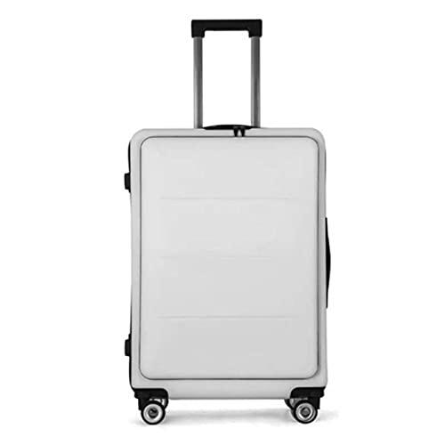 20/24 pulgadas creativo Flip cubierta Rolling equipaje Spinner cabina portátiles Trolley mujeres hombres negocios maleta Tavel bolsa rueda, Blue, 24'/61 cm,