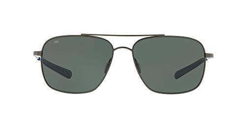 Costa Del Mar Men's Canaveral Polarized Round Sunglasses, Brushed Grey/Grey Polarized-580G, 59 mm -  Costa del Mar Sunglasses, CAN185OGGLP