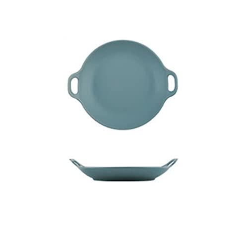 LIUBINGTB Plato de Cena Placas de Cena de cerámica Placa de Res con vajilla Redondo Esla de glaseado Coloreado Placa Placa Cake Creativo Doble Placa de Placa De Cerámica