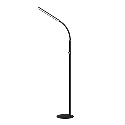 LEGELY Lampadaire LED 12w, noir Dimmable, lampe de lecture LED en métal pour lampe de salon Lampe de chambre/col de cygne ABS réglable à 360 ° / 167cm