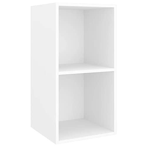 vidaXL Mueble de Pared para TV Soporte Armario Aparador Estante Salón Sala de Estar Mobiliario Decoración Aglomerado Blanco 37x37x72 cm