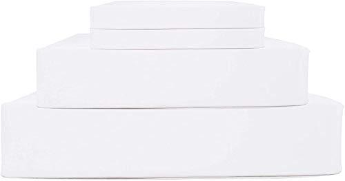 Pride Beddings - Juego de sábanas de algodón egipcio de 700 hilos, 4 piezas, 14 a 43 cm de profundidad, tejido de satén suave y suave, bolsillo profundo, ropa de cama de lujo, color blanco