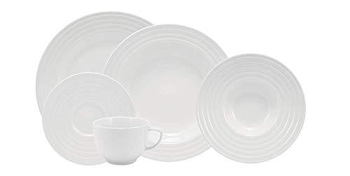 Serviço de Jantar e Chá 20 peças em Porcelana. Modelo Redondo com Relevo Arcos. Fabricado pela Schmidt.