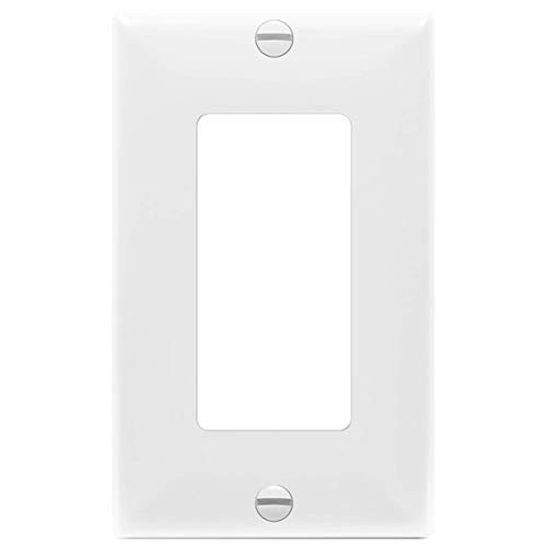 "ENERLITES Decorator Light Switch or Receptacle Outlet Wall Plate, Size 1-Gang 4.50"" x 2.76"", Unbreakable Polycarbonate Thermoplastic, UL Listed, 8831-W, White"